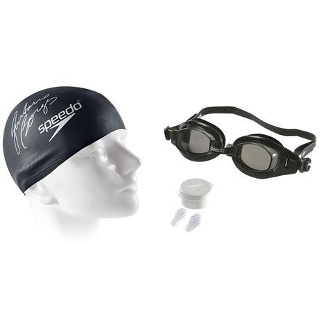 64ea15e58 Kit Natação Swim Óculos Protetor Ouvido E Touca Preta Speedo - Touca ...