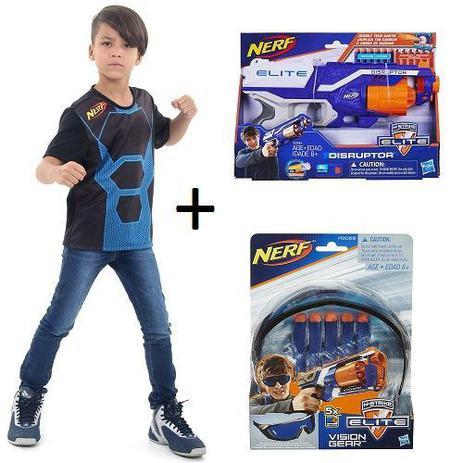 fc9fd06419031 Kit NERF Elite Vision Gear + Disruptor + Camisa NERF Hasbro ...