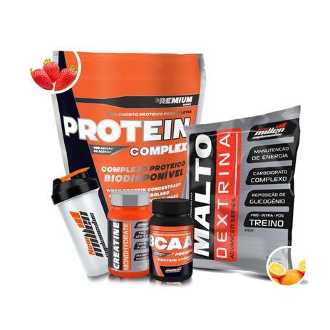 db8786795 Kit New Millen - Protein Complex + Maltodextrina + Creatina + BCAA +  Coqueteleira