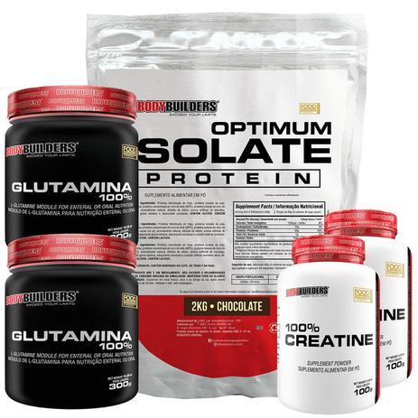 Imagem de Kit Optimum Isolate Whey Protein 2kg  Chocolate +  2x Creatina 100g + 2x Glutamina 300g - Bodybuilders
