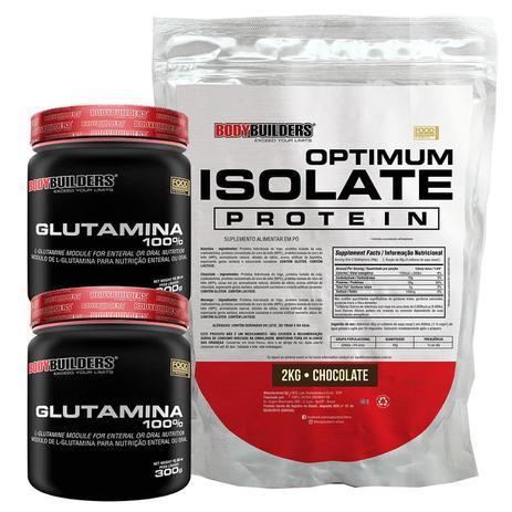 Imagem de Kit Optimum Isolate Whey Protein 2kg  Chocolate  + 2x  Glutamina 300g +  Coqueteleira - Bodybuilders