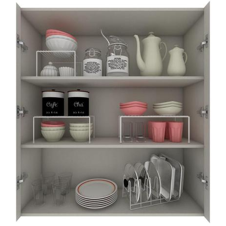 Imagem de Kit Organizador Armário Cozinha Panela Prateleiras Aço 4Un