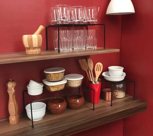 Imagem de Kit Organizador de Armário de Cozinha Aramado Prateleiras 3 unidades em Aço