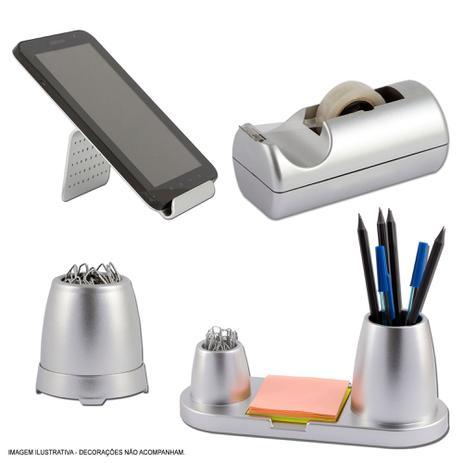Imagem de Kit Organizador de Mesa e Escritório Metalizado Prata Maxcril