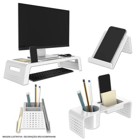 Imagem de Kit Organizador de Mesa e Escritório Prime Branco e Cristal Maxcril
