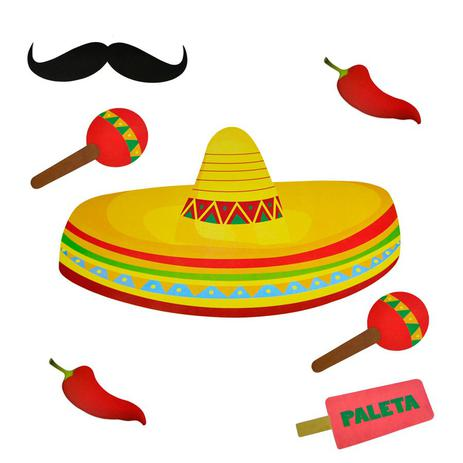Imagem de Kit Painel Enfeite para Decoração Sombrero Festa Mexicana Paper Fest