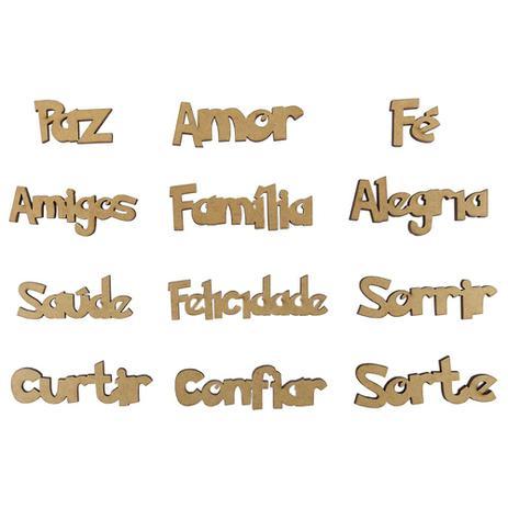 kit palavras em português para decoração com 12 unidades em mdf a