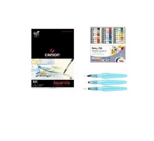 Imagem de Kit Papel Canson Aquarela + Aquarela Pentel tubo 24 cores + Kit pinceis Pentel