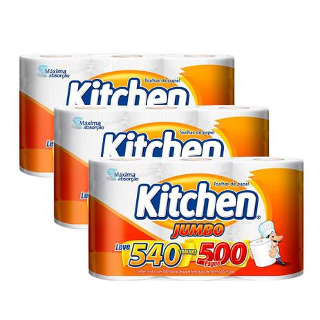 Imagem de Kit Papel Toalha Folha Dupla Kitchen Jumbo 1.620 Folhas