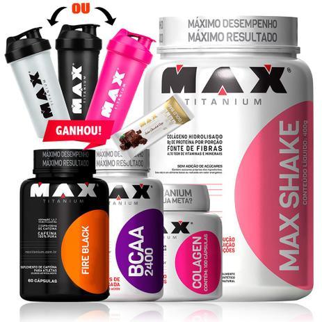 6f50eba23 Kit Para Emagrecer Bcaa + Colageno + Shake + Termogenico - Max titanium