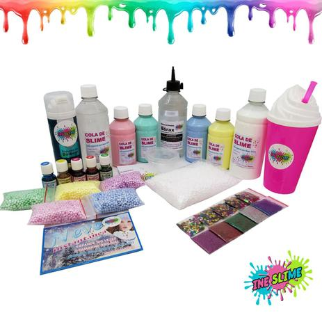 ba71f6906e938 Kit Para Fazer Slime Cola Branca E Transparente Borax Espuma Neve Copo - Kit  Completo Slime - Ine slime