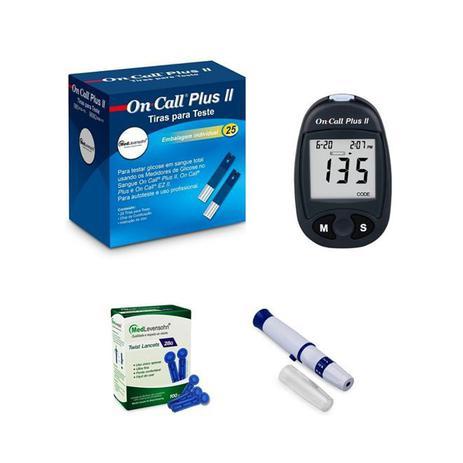 Imagem de Kit para Glicemia - Monitor + 25 Tiras para Glicemia On Call Plus II