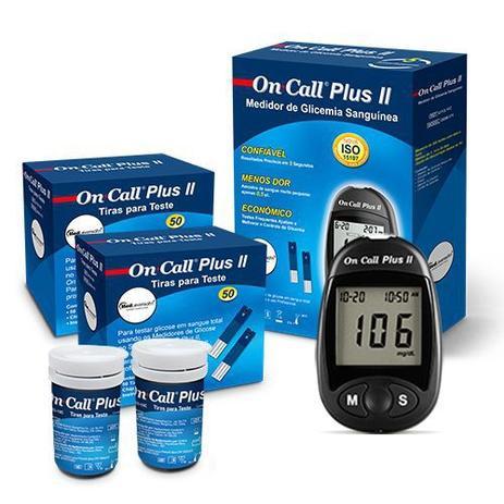 Imagem de Kit para Medir Glicemia com 100 Tiras  On Call Plus II