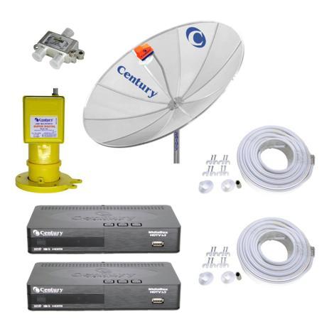 Imagem de Kit Parabólica Digital 1,9 Century, Multiponto, 2 Rec Digital HD Century B3, Divisor e Kit cabo
