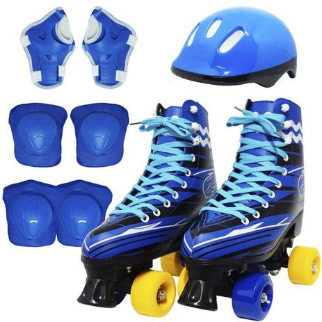 f30c56c73 Kit Patins Clássico Quad 4 Rodas Roller + Acessórios Masculino Azul Tam 29  Importway BW-021-AZ
