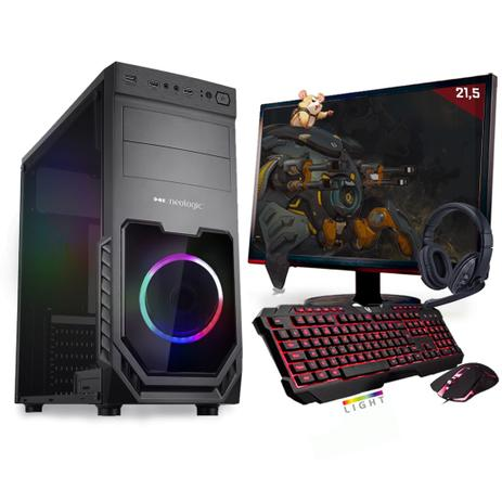 Imagem de Kit PC Gamer Neologic Start NLI81417 Ryzen 3 2200G 8GB ( Radeon Vega 8 Integrado) SSD 240GB + Monitor 21,5