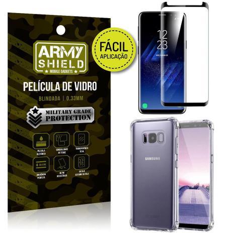 Imagem de Kit Película 3D Fácil Aplicação Samsung Galaxy S8 Película 3D + Capa Anti Impacto - Armyshield