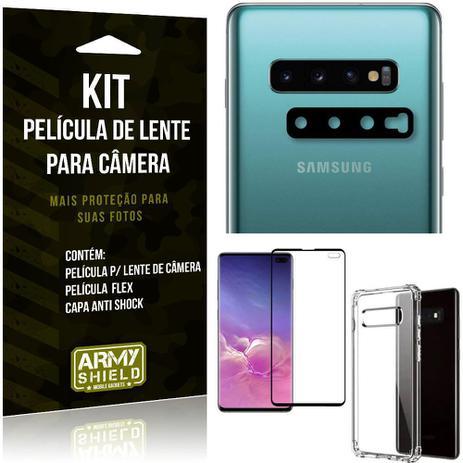 Imagem de Kit Película de Lente Galaxy S10 Plus + Capa Anti Shock + Película Flex - Armyshield