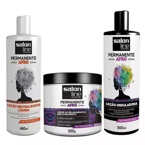 Imagem de Kit Permanente Afro Salon Line Completo 03 Produtos
