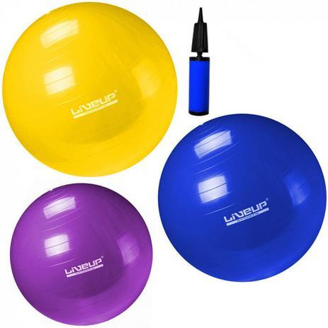 Kit Pilates com 3 Bolas Suicas Nos Tamanhos 55 Cm + 65 Cm + 75 Cm Liveup 445108c6c0a47