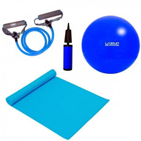 Kit Pilates com Bola 65 Cm + Bomba + Colchonete + Extensor Forte Liveup f49e3718d7cc0