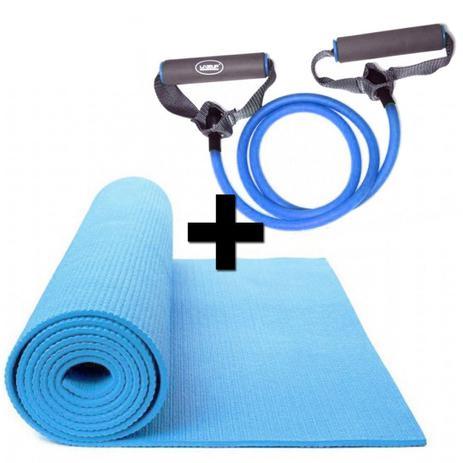 Imagem de Kit Pilates com Colchonete em Eva + Extensor Elastico Azul Tensao Forte Liveup