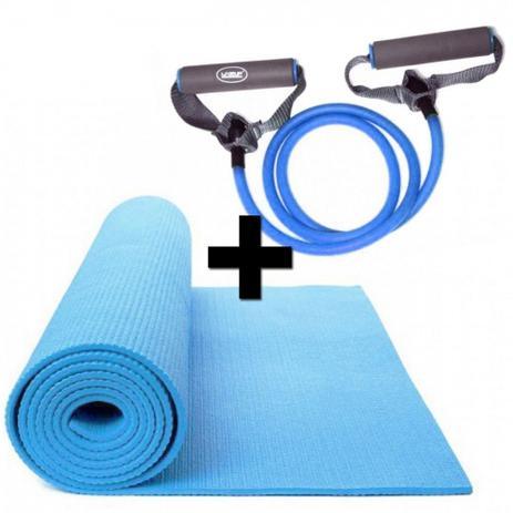 Kit Pilates com Colchonete em Eva + Extensor Elastico Azul Tensao Forte  Liveup 64b16b4f68b8e