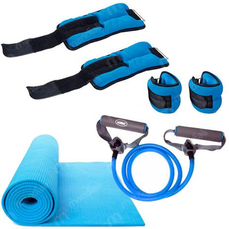 Kit Pilates com Colchonete em Eva + Extensor Forte + Par Caneleira Liveup 5a4432cecbf7f