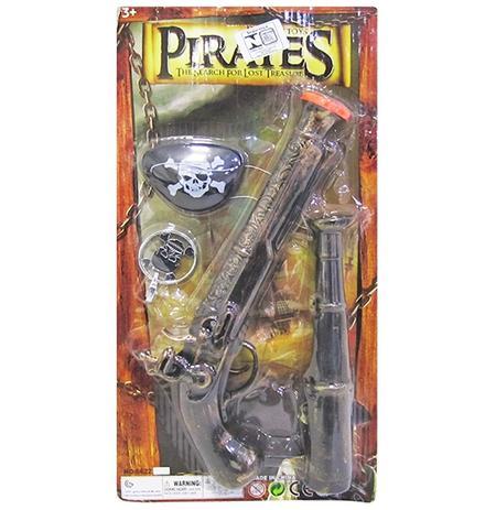 Imagem de Kit pirata com pistola + luneta pirates e acessorios 4 pecas na cartela