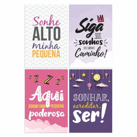 Kit Placa Decorativa Mdf Frases Infantis Menina 4un 30x40cm Quartinhos