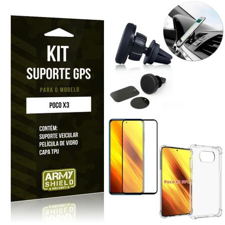 Imagem de Kit Poco X3 Suporte Veicular Magnético + Capa Anti Impacto + Película Vidro 3D - Armyshield