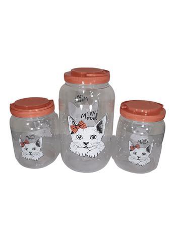 Imagem de Kit Pote Para Ração e Petiscos Cachorros e Gatos 3 Unidades