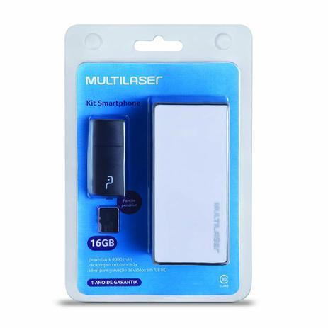 Imagem de Kit Power Bank 4000 mAh + Pendrive + Cartão De Memória Micro SD Classe 10 16GB Preto Multilaser - MC220