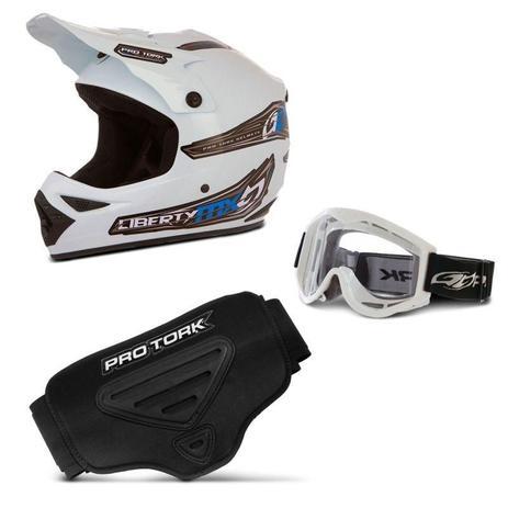 Imagem de Kit Proteção Trilha Capacete + Óculos + Cinta Pro Tork 3 Itens