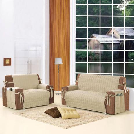 77add5f721 Kit Protetor de sofá 2 e 3 Lugares Bege Luxo com Laço e Porta Controle e  objetos - Casa dona