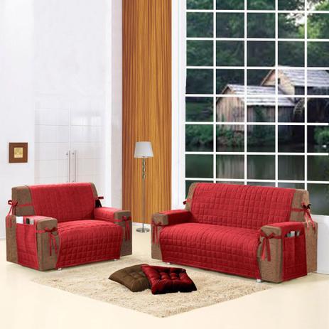 649ada38aa Kit Protetor de sofá 2 e 3 Lugares Vermelho Luxo com Laço e Porta Controle  e objetos - Casa dona