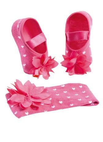 99d781758bbe9d Kit Puket Faixa de Cabelo e Meia Sapatilha Flor Pink