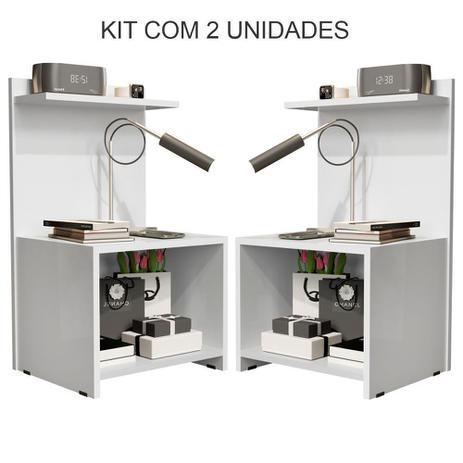 Imagem de Kit Quarto Com 2 Mesas de Cabeceira Fantasy Branco - Lojas GD