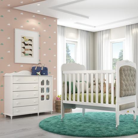26d566231 Kit Quarto Infantil 02 Peças Com Berço E Cômoda Slim 100 MDF Provence -  Matic