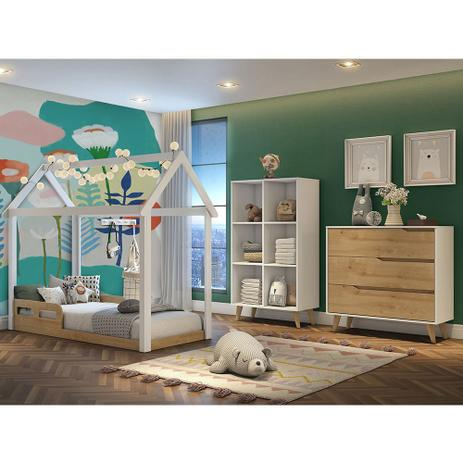 Imagem de Kit Quarto Infantil Analu Branco Bétula  Mini Cama + Guarda-roupa + Cômoda 3 Gavetas