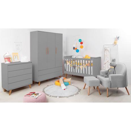 Imagem de Kit Quarto Infantil Retrô Cinza - Berço + Cômoda sem Porta + Guarda-Roupa + Poltrona