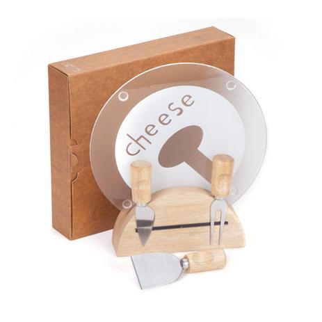 Imagem de Kit Queijo 1 Suporte de madeira 3 Facas de aço inox e madeira 1 Tábua de vidro 5 peças