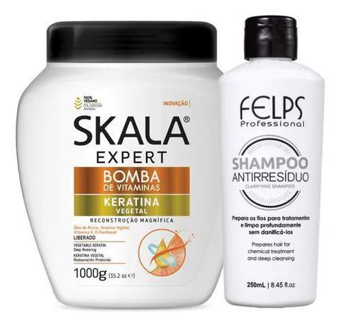 Imagem de Kit Reconstrução Capilar Bomba De Keratina Vegetal 1000 g E Shampoo Anti Resíduo 250 ml