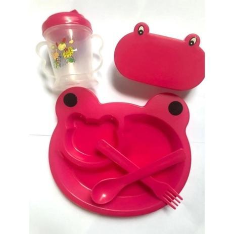 Imagem de Kit Refeição Infantil Sapinho 5 Peças Menina Rosa