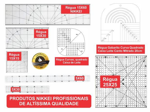 Imagem de Kit Réguas para Patchwork - 15x60 + 15x30 + 15x15 + Curvas + 5x60 + 5x30 + Canto Mitrado + Caixa de Leite + 25x25