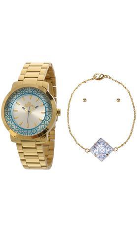 dfd7a38f7cb Kit Relógio Allora Feminino Dourado Azulejos AL2035EYZK4K - Relógio ...