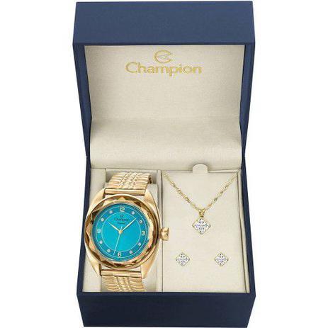 2e37cc8b1b6 Kit Relógio Champion Feminino Azul Brincos e Colar CN27858Y ...