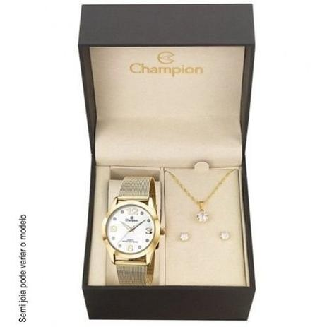 ba1eba83170 Kit Relógio Champion Feminino Colar e Brincos CN29098W - Relógio ...