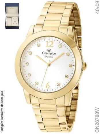 ac8fc137d Kit Relógio Champion Feminino Dourado Cn26788w + Semijoia - Relógios ...