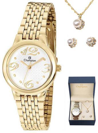 d6900ba9f Kit Relógio Champion Semi Joias Dourado CH24919W - Relógio Feminino ...